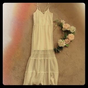 BCBGeneration Cream Sheer Slip Maxi Dress